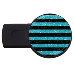 Stripes2black Marble & Turquoise Glitter Usb Flash Drive Round (4 Gb) by trendistuff