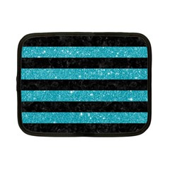 Stripes2black Marble & Turquoise Glitter Netbook Case (small)  by trendistuff