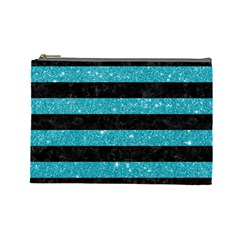 Stripes2black Marble & Turquoise Glitter Cosmetic Bag (large)