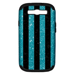 Stripes1 Black Marble & Turquoise Glitter Samsung Galaxy S Iii Hardshell Case (pc+silicone) by trendistuff