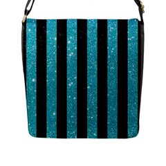 Stripes1 Black Marble & Turquoise Glitter Flap Messenger Bag (l)  by trendistuff