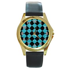 Square2 Black Marble & Turquoise Glitter Round Gold Metal Watch by trendistuff