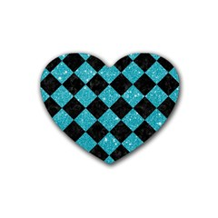 Square2 Black Marble & Turquoise Glitter Heart Coaster (4 Pack)  by trendistuff