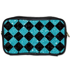 Square2 Black Marble & Turquoise Glitter Toiletries Bags by trendistuff