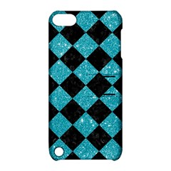 Square2 Black Marble & Turquoise Glitter Apple Ipod Touch 5 Hardshell Case With Stand by trendistuff