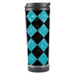 Square2 Black Marble & Turquoise Glitter Travel Tumbler by trendistuff