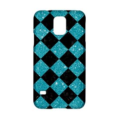 Square2 Black Marble & Turquoise Glitter Samsung Galaxy S5 Hardshell Case  by trendistuff