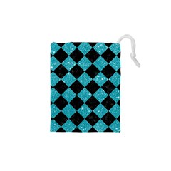 Square2 Black Marble & Turquoise Glitter Drawstring Pouches (xs)  by trendistuff