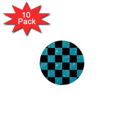 Square1 Black Marble & Turquoise Glitter 1  Mini Buttons (10 Pack)  by trendistuff