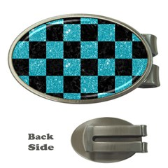 Square1 Black Marble & Turquoise Glitter Money Clips (oval)  by trendistuff