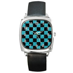 Square1 Black Marble & Turquoise Glitter Square Metal Watch by trendistuff