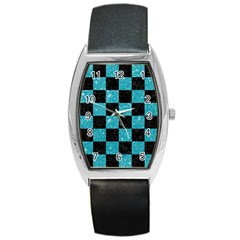 Square1 Black Marble & Turquoise Glitter Barrel Style Metal Watch by trendistuff