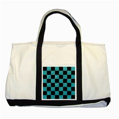 Square1 Black Marble & Turquoise Glitter Two Tone Tote Bag by trendistuff
