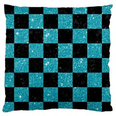 Square1 Black Marble & Turquoise Glitter Large Cushion Case (two Sides) by trendistuff