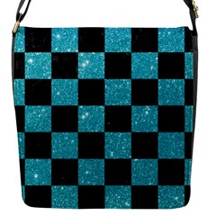Square1 Black Marble & Turquoise Glitter Flap Messenger Bag (s) by trendistuff