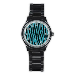 Skin4 Black Marble & Turquoise Glitter (r) Stainless Steel Round Watch by trendistuff