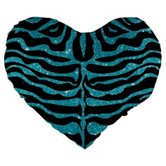 Skin2 Black Marble & Turquoise Glitter (r) Large 19  Premium Flano Heart Shape Cushions by trendistuff