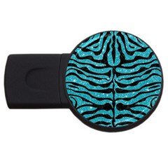Skin2 Black Marble & Turquoise Glitter Usb Flash Drive Round (4 Gb) by trendistuff