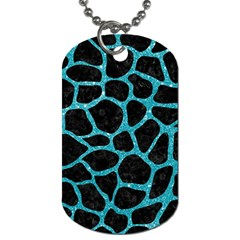 Skin1 Black Marble & Turquoise Glitter Dog Tag (one Side)