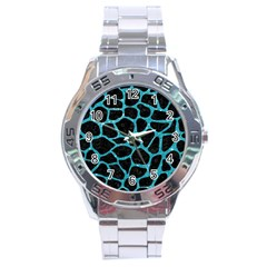 Skin1 Black Marble & Turquoise Glitter Stainless Steel Analogue Watch by trendistuff