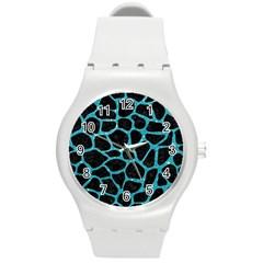 Skin1 Black Marble & Turquoise Glitter Round Plastic Sport Watch (m) by trendistuff
