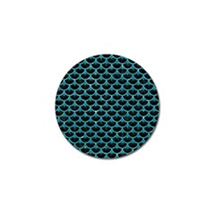 Scales3 Black Marble & Turquoise Glitter (r) Golf Ball Marker by trendistuff