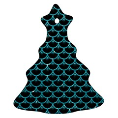 Scales3 Black Marble & Turquoise Glitter (r) Ornament (christmas Tree)  by trendistuff