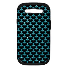 Scales3 Black Marble & Turquoise Glitter (r) Samsung Galaxy S Iii Hardshell Case (pc+silicone) by trendistuff