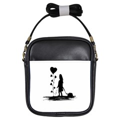 Sowing Love Concept Illustration Small Girls Sling Bags by dflcprints
