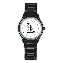 Sowing Love Concept Illustration Small Stainless Steel Round Watch by dflcprints