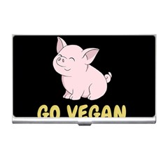 Go Vegan   Cute Pig Business Card Holders by Valentinaart