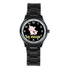 Go Vegan   Cute Pig Stainless Steel Round Watch by Valentinaart