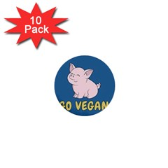 Go Vegan   Cute Pig 1  Mini Buttons (10 Pack)  by Valentinaart