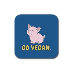 Go Vegan   Cute Pig Rubber Square Coaster (4 Pack)  by Valentinaart