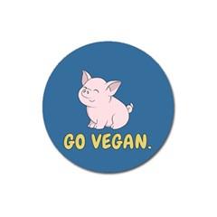Go Vegan   Cute Pig Magnet 3  (round) by Valentinaart