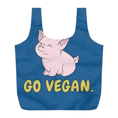 Go Vegan   Cute Pig Full Print Recycle Bags (l)  by Valentinaart