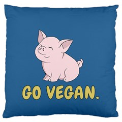 Go Vegan   Cute Pig Large Flano Cushion Case (two Sides) by Valentinaart