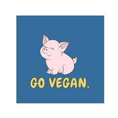 Go Vegan   Cute Pig Small Satin Scarf (square) by Valentinaart