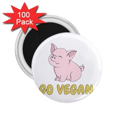 Go Vegan   Cute Pig 2 25  Magnets (100 Pack)  by Valentinaart
