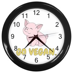 Go Vegan   Cute Pig Wall Clocks (black) by Valentinaart