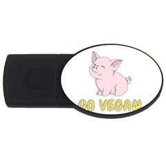 Go Vegan   Cute Pig Usb Flash Drive Oval (4 Gb) by Valentinaart
