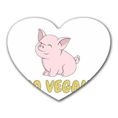Go Vegan   Cute Pig Heart Mousepads by Valentinaart