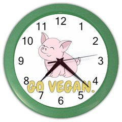 Go Vegan   Cute Pig Color Wall Clocks by Valentinaart