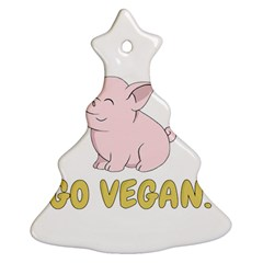 Go Vegan   Cute Pig Christmas Tree Ornament (two Sides) by Valentinaart