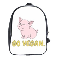 Go Vegan   Cute Pig School Bag (xl) by Valentinaart