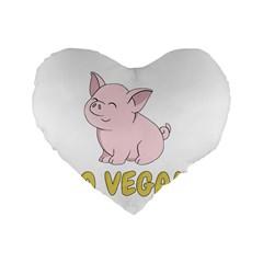 Go Vegan   Cute Pig Standard 16  Premium Heart Shape Cushions by Valentinaart