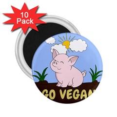 Go Vegan   Cute Pig 2 25  Magnets (10 Pack)  by Valentinaart