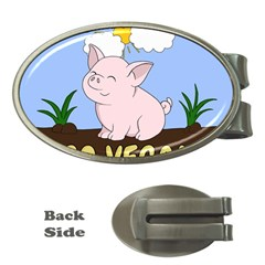 Go Vegan   Cute Pig Money Clips (oval)  by Valentinaart