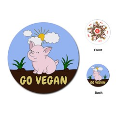 Go Vegan   Cute Pig Playing Cards (round)  by Valentinaart