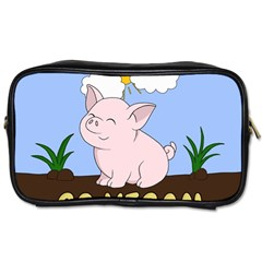 Go Vegan   Cute Pig Toiletries Bags by Valentinaart